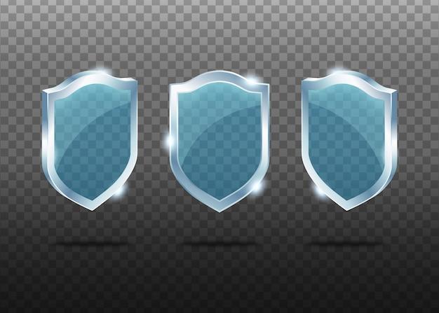 Conjunto de escudos realistas de vidrio.