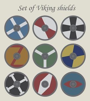 Conjunto de escudos de vector vikingo