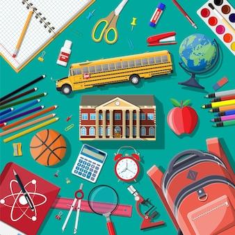 Conjunto de escuela grande. diferentes útiles escolares, papelería. yop ver