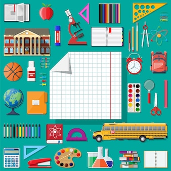 Conjunto de escuela grande. diferentes útiles escolares, papelería.