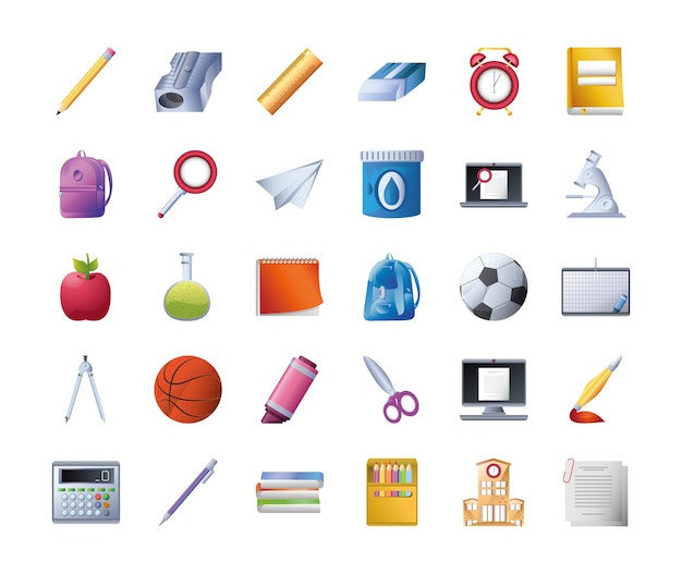 Conjunto de escuela de iconos sobre fondo blanco, diseño detallado