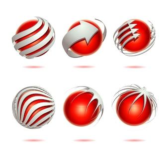 Conjunto de esfera 3d abstracto