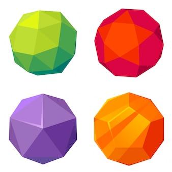 Conjunto de esfera de baja poli.