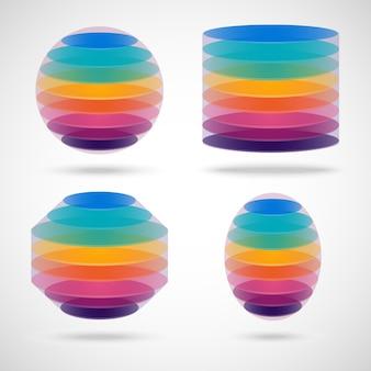Conjunto de esfera de color, cilindro, polígono y elipse en gris.