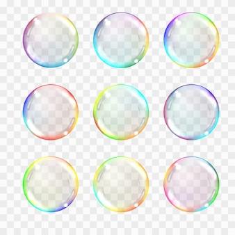 Conjunto de esferas de cristal transparente multicolor.