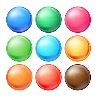 Conjunto de esferas redondas.
