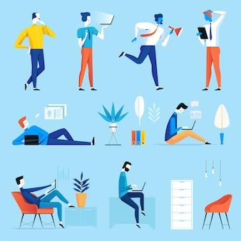 Conjunto de espacio de coworking con gente creativa.