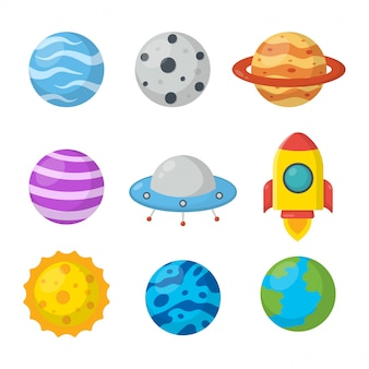 Conjunto de espacio. estilo de dibujos animados de planetas. aislado