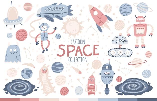 Conjunto de espacio. galaxia, planetas, robots y extraterrestres.