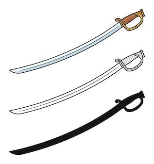 Conjunto de espadas de sable aislado en blanco