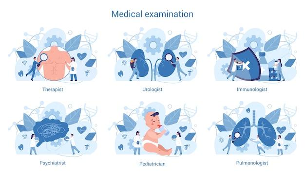 Conjunto de especialidades y exámenes médicos. terapeuta y urólogo, inmunólogo y pulmanólogo. diagnóstico y tratamiento de enfermedades.