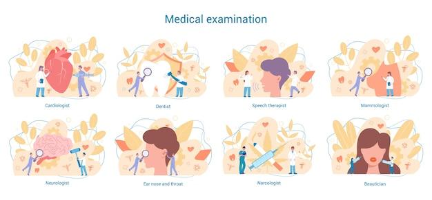 Conjunto de especialidades médicas. dentista y cardiólogo, neurólogo y narcólogo. diagnóstico y tratamiento de enfermedades.