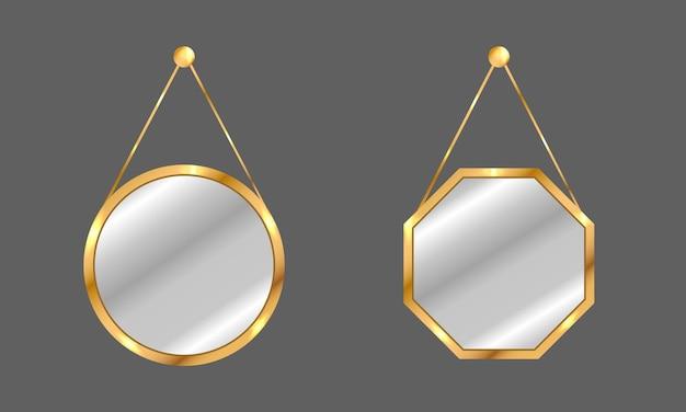 Conjunto de espejos colgantes. espejos circulares y cuadrados con marco dorado.