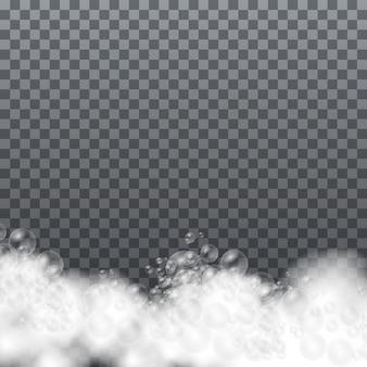 Conjunto de espuma de baño con burbujas de champú y jabón, espuma de jabón aislada, espuma de gel o burbujas de champú, ilustración vectorial