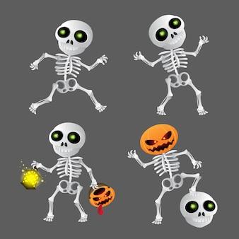 Conjunto de esqueleto de dibujos animados feliz. ilustración para feliz halloween en gris