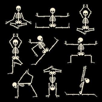 Conjunto de esqueletos de kung fu y yoga. pose humana anatomía, cuerpo cómico, fitness saludable, ilustración vectorial