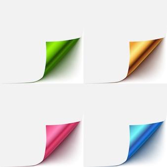 Conjunto de esquina de vector realista papel curlud