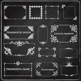 Conjunto de esquinas de diseño ornamental