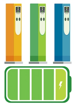 Conjunto de estaciones de recarga de vehículos eléctricos.