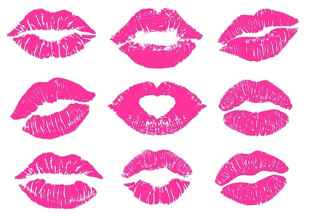 Conjunto de estampado de beso de lápiz labial femenino.