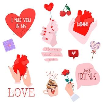 Conjunto de estampados románticos para el día de san valentín con lindos elementos encantadores y tipografía.