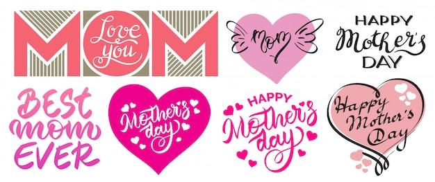 Conjunto de estampas del día de la madre feliz.