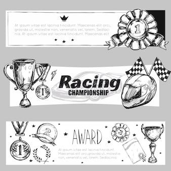 Conjunto de estandartes de medalla de ganador
