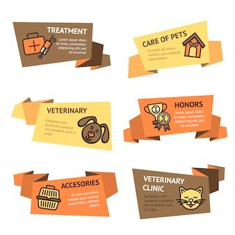 Conjunto de estandartes veterinarios.
