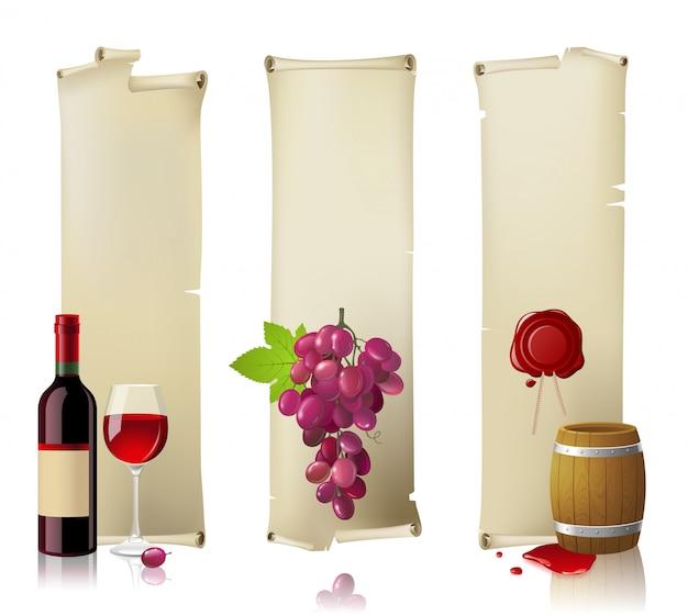 Conjunto de estandartes de vino