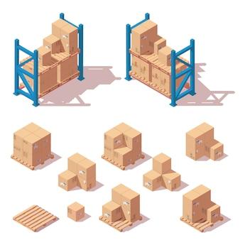 Conjunto de estanterías de almacén, cajas y paletas