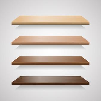 Conjunto de estanterías de madera con sombras.