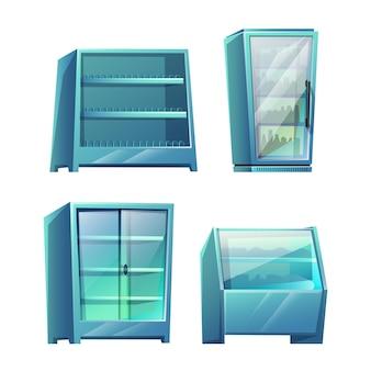Conjunto de estantes de almacenamiento de supermercado aislado en blanco