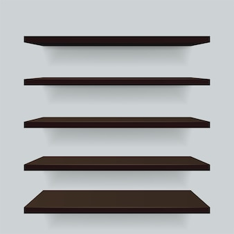 Conjunto de estantes de madera marrón de diferentes vistas.