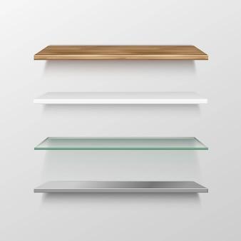 Conjunto de estantes vacíos de madera, vidrio, metal, plástico, estante