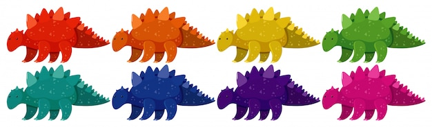 Conjunto de estegosaurio en ocho colores diferentes