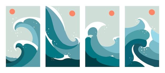 Conjunto de estética contemporánea abstracta de paisajes de mediados de siglo con sol y olas del mar. arte de línea de tendencia boho. diseño plano minimalista.