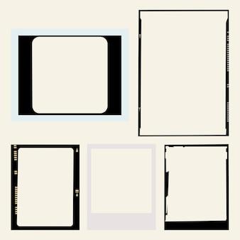Conjunto estético de vector de fotogramas de película analógica vintage