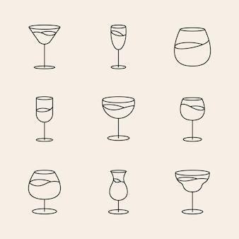 Conjunto de estilo de arte de línea gráfica de vector de vidrio de brandy mínimo