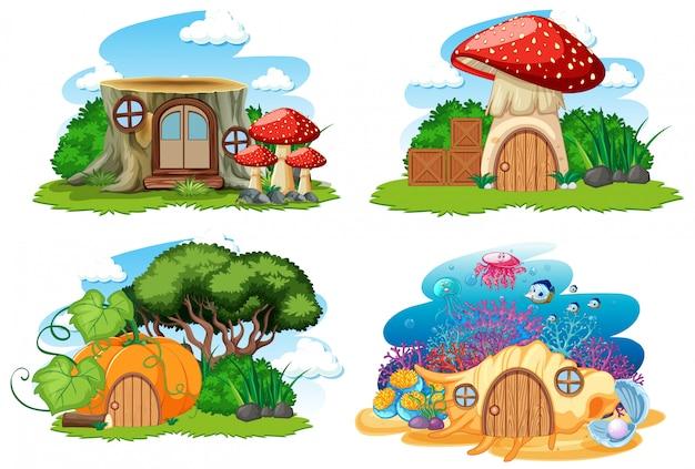 Conjunto de estilo de dibujos animados de casas de cuento de hadas de gnomo aislado