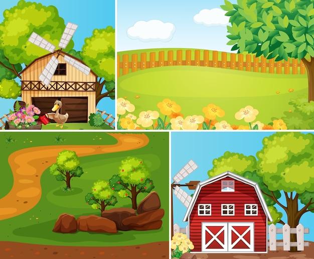 Conjunto de estilo de dibujos animados de escena de granja