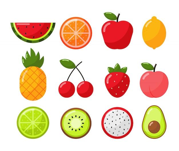 Conjunto de estilo de dibujos animados de frutas tropicales aislado en blanco