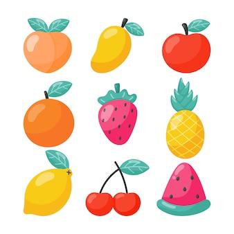 Conjunto de estilo de dibujos animados de frutas tropicales. aislado. ilustración vectorial