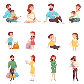 Conjunto de estilo de dibujos animados de miembros de la familia