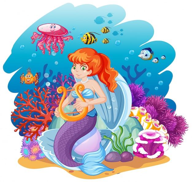 Conjunto de estilo de dibujos animados de sirena y animales marinos en el fondo del mar