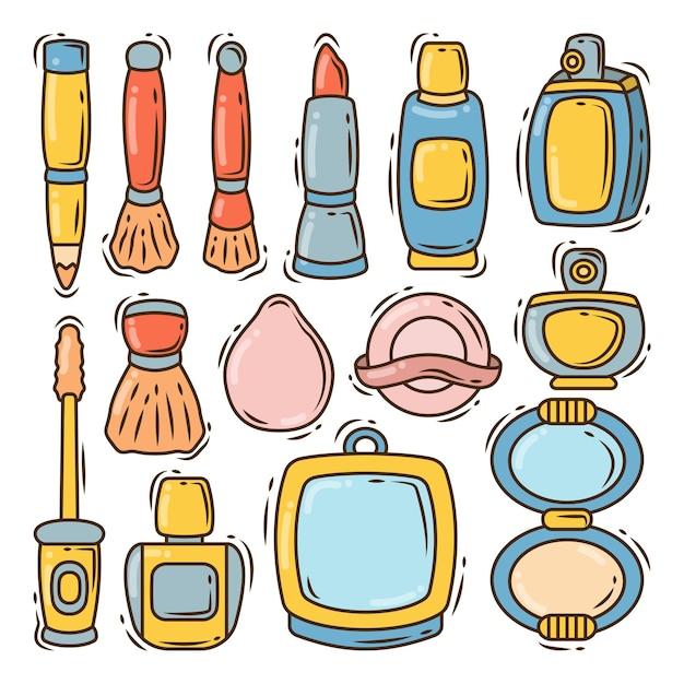 Conjunto de estilo de doodle de dibujos animados de moda mujer dibujada a mano