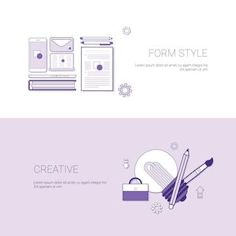 Conjunto de estilo de formulario y banners creativos concepto de negocio plantilla