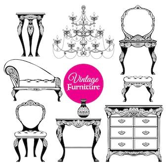 Conjunto de estilo de muebles vintage dibujados a mano