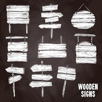 Conjunto de estilo de pizarra de signos de madera