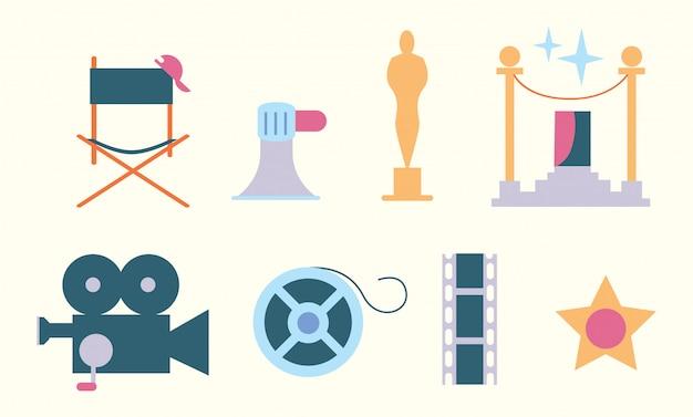 Conjunto de estilo plano de elementos de cine
