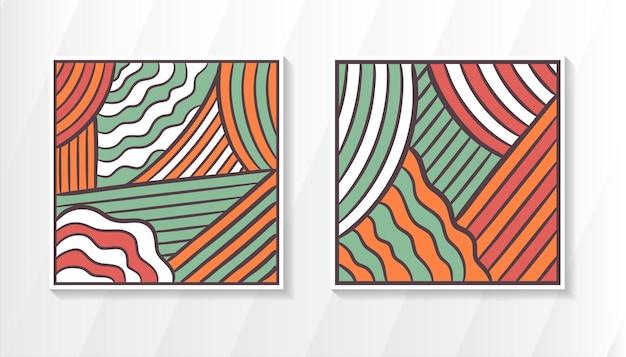 Conjunto de estilo retro de diseño de plantilla de fondo cuadrado abstracto con contorno gris oscuro